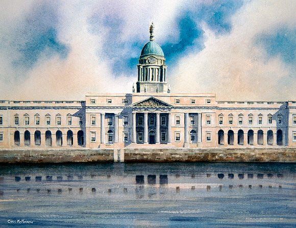 Watercolour painting of the Custom House, Dublin city