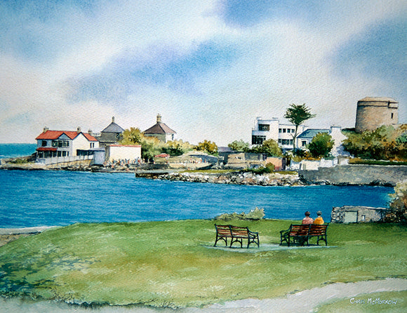 Watercolour painting of a view from the small park near Sandycove bay.