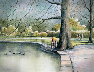 Watercolour painting of a family feeding ducks in Stephens Green, Dublin city centre