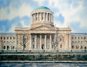 A watercolour painting of the Four Courts in Dublin