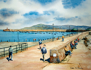 Watercolour painting of a sunny day on Dun Laoghaire pier