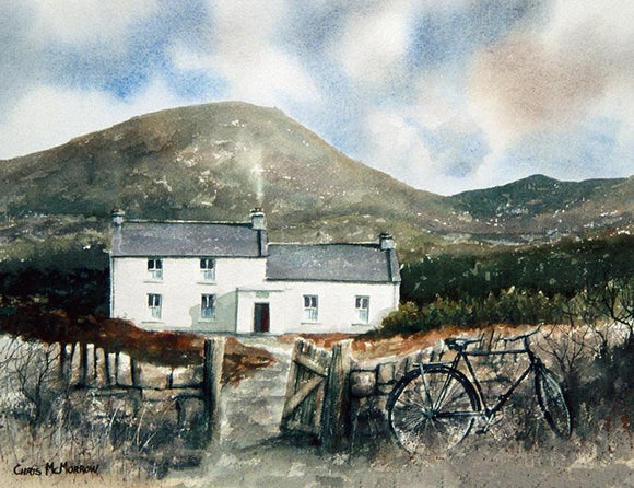 Watercolour painting of a west of Ireland cottage