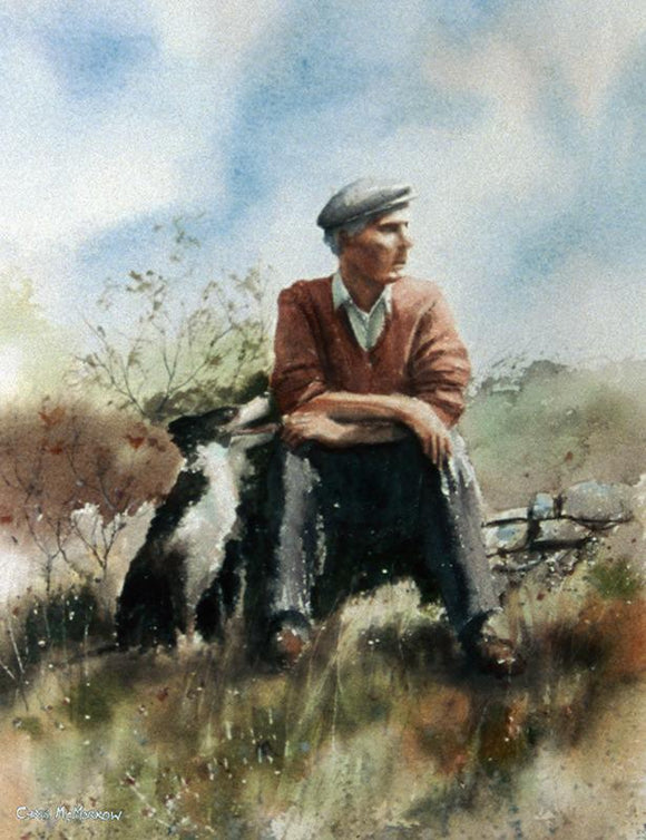 Watercolour painting of a man sitting with his faithful Collie dog