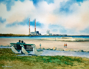 Painting of a couple sitting on a bench looking out on Sandymount Strand