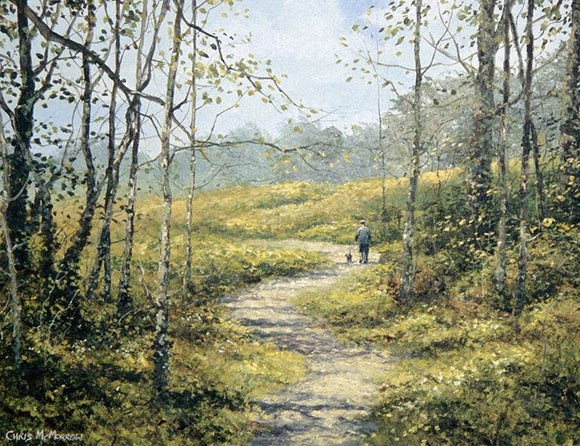 PAinting of A man and his dog take a walk along a forest path
