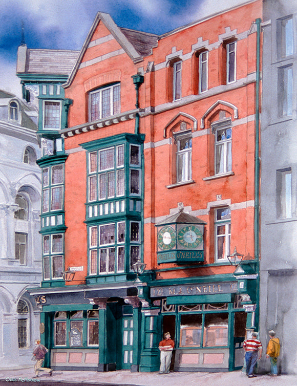 Watercolour of O'Neills Pub on Suffolk Street, Dublin