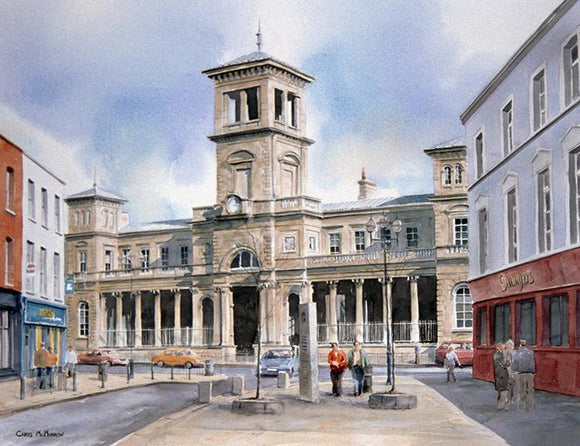 A watercolour painting of Connolly Train Station , Dublin