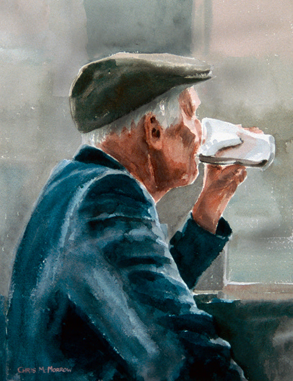 Watercolour painting of a man finishing off the last of his pint of stout