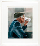 Framed print of a painting of an old man downing the last gulp of his pint of Guinness