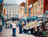 Watercolour painting of Moore Street open market stalls, Dublin