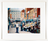 Print of a painting of the Moore Street traders market, Dublin city centre