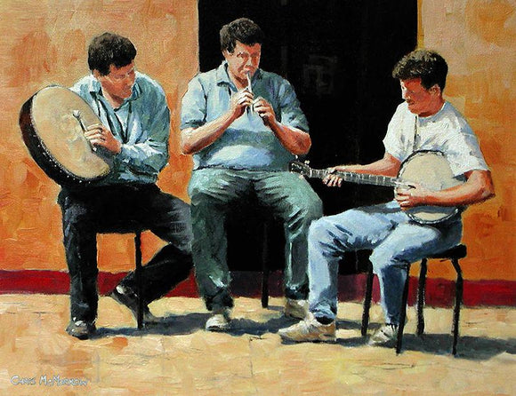 PAinting of three Irish musicians performing outside a pub