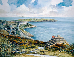 Watercolour painting of a view of Dublin bay from Killiney Hill, Dalkey