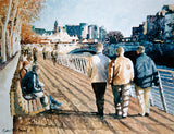 Watercolour painting of people walking and sitting in the sunshine along the Lffey Boardwalk, Dublin