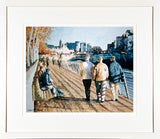 Framed print of a scene of a sunny boardwalk in Dublin city