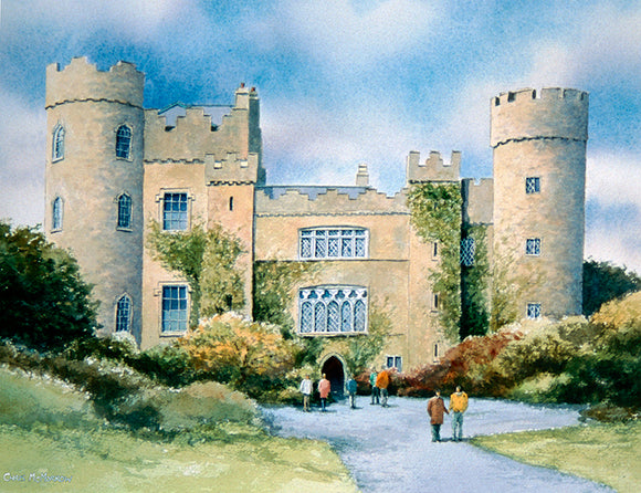 Watercolour painting of Malahide Castle and grounds