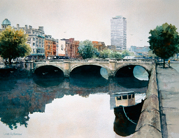 Watercolour painting of O'Connell Bridge, Dublin and the River Liffey
