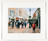 Framed print of a watercolour of Grafton Street on a cool spring day