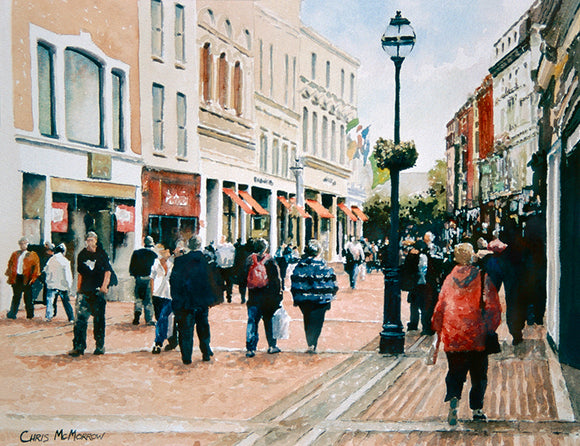 Watercolour of the lower end of Grafton Street, Dublin