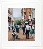 Framed print of a watercolour of a busker guitarist playing on Grafton Street, Dublin