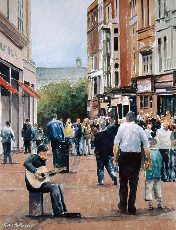 A  painting of a guitarist busking on Grafton Street, Dublin