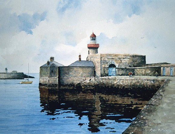Watercolour painting of Dun LAoghaire Pier, Dublin