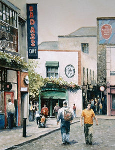 watercolour painting of Crown Alley street in Temple BAr