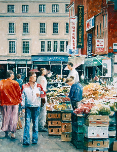 Watercolour painting depicting a busy Moore Street fruit and vegetable market