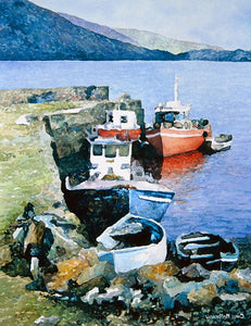 Watercolour painting of pretty red and blue fishing boats anchored by a pier in North Connemara