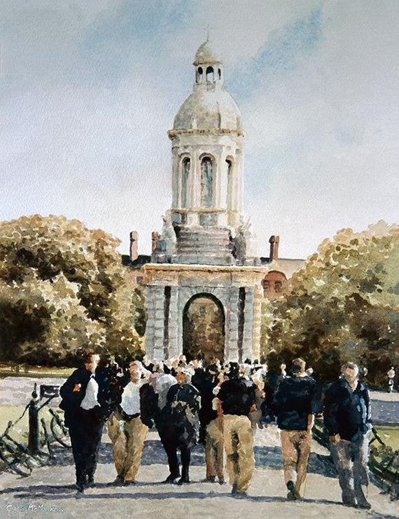Watercolour painting of the Campanile bell tower in Trinity College