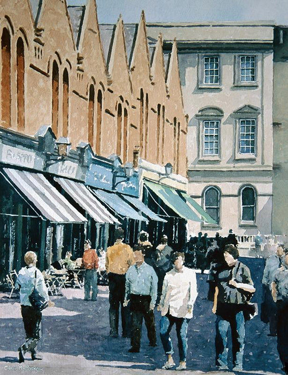 Watercolour painting of Castlemarket busy with people