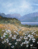 Acrylic painting of meadow daisies in the west of Ireland countryside