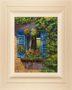 A painting of a typical Italian window with slatted blue shutters surrounded bu lush foliage lit by the midday sun.