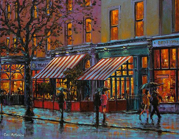 A painting of Cafe en Seine Bar on a damp evening in Dublin