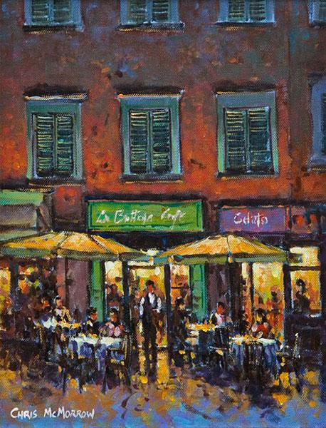 Painting of a cafe in Lucca, Italy