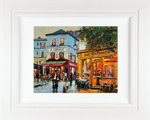 A colourful  Parisien streetscape acrylic painting showing diners outside a typical cafe on the cobbled street of the French capital
