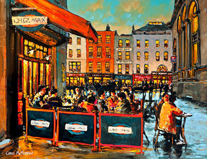 Pre theatre diners outside Chez Max Restaurant, Dame Street, Dublin