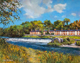 A painting of cottages by a weir in Lucan, Co Dublin