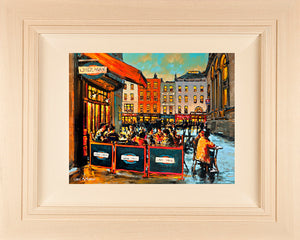 Acrylic painting on 18x14 inch canvas Acrylic painting featuring diners outside French cafe 'Chez Max' with the Olympia theatre and Dame street in the background.