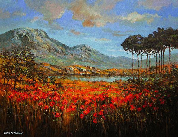 A painting of Derryclare Lough with pine trees in Connemara