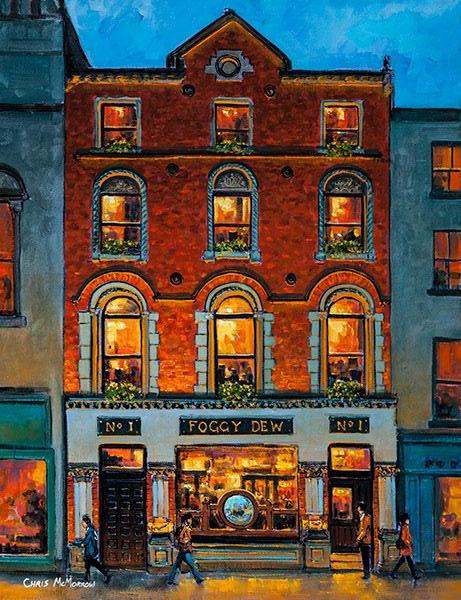 A painting of The Foggy Dew Pub on Central Bank Square just off Dame Street, Dublin