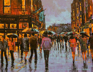 An impressionistic painting of shoppers out and about at the bottom of Grafton Street, Dublin
