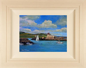 Acrylic painting on 12x10 inch canvas featuring Howth Harbour, lighthouse and Irelands Eye in the background.