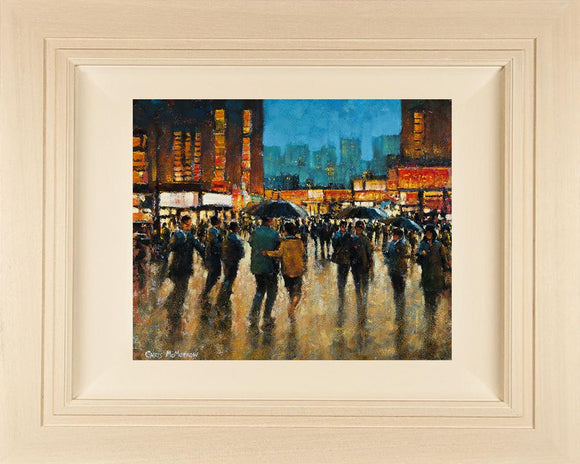 Acrylic painting on 18x14 inch canvas  A colourful streetscape acrylic painting featuring crowds in a busy lit up city centre setting