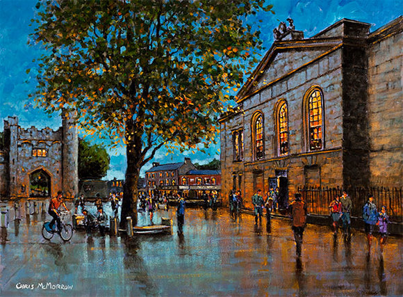 A painting of the outside of Kilmainham Gaol with the gates of the Royal Hospital in the distance