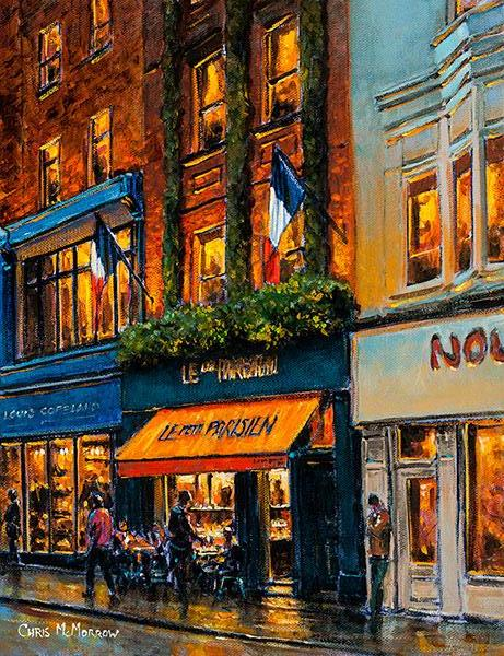 A painting of the picturesque 1920's style French cafe, Le Petit Parisien, on Dublin's Wicklow Street with it's striking orange awning