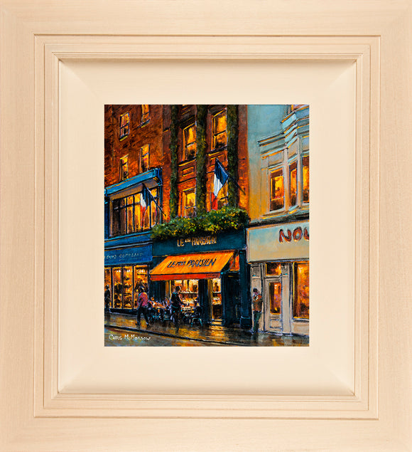 Acrylic painting on a 12x10 inch canvas of a picturesque 1920's style French cafe, bakery and patisserie on Dublin's Wicklow Street