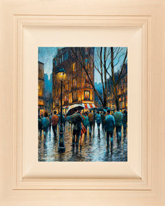 Acrylic painting on 18x14 inch canvas  A colourful streetscape acrylic painting featuring a couple stopping for an impromptu dance under an umbrella on the cobbled street of the French capital Paris.