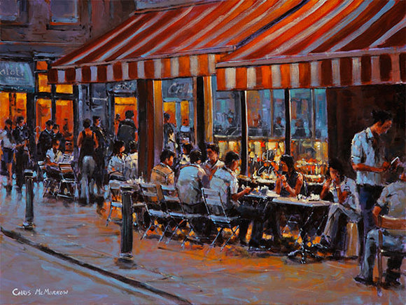 A painting of the Metro Cafe, South William Street, Dublin