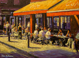 Painting of people sitting outside the Metro Cafe on a summers day